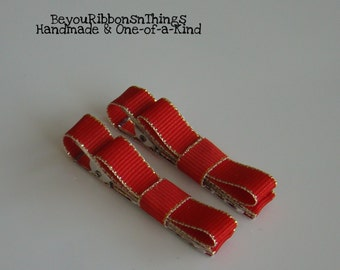 Red Gold Trim   Hair Clips for Girls   Toddler Barrette   Baby Hair Clips Kids Hair Accessories   No Slip Grip   Christmas   Holidays