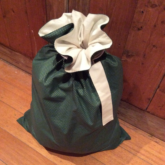 Green & Gold Spots and Calico Quality Christmas Santa Sack, Hand Made, Large 54cm x 74cm, Fully Lined