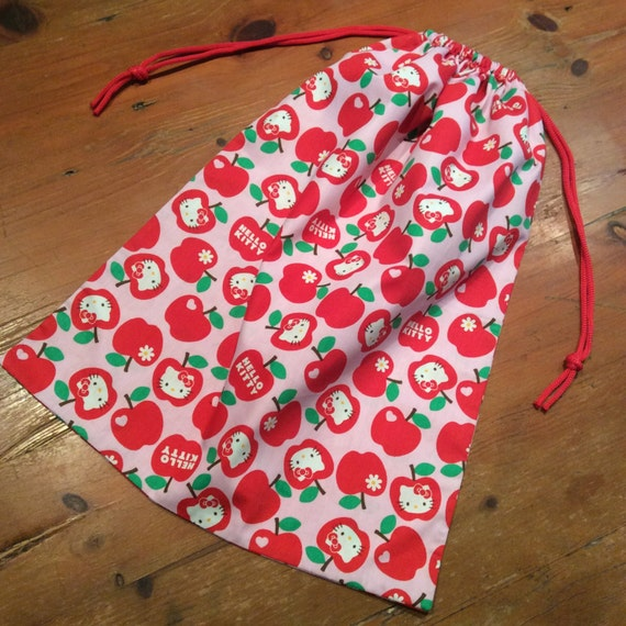 Hello Kitty Pink & Red Library Bag, Large Drawstring, 45cm x 35cm