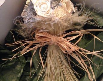 Rustic, vintage, farmhouse style alternative keepsake bouquet