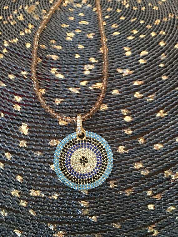 Large Round Evil Eye Pendant w/Crystal