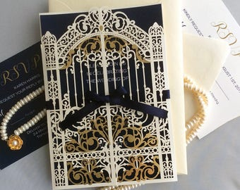 Custom listing for Karen - elegant laser cut pearl white palace gate invitation gold foiled gate folding with navy ribbon Disney wedding