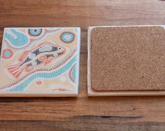 Ceramic Tile Coaster - Aboriginal Barramundi