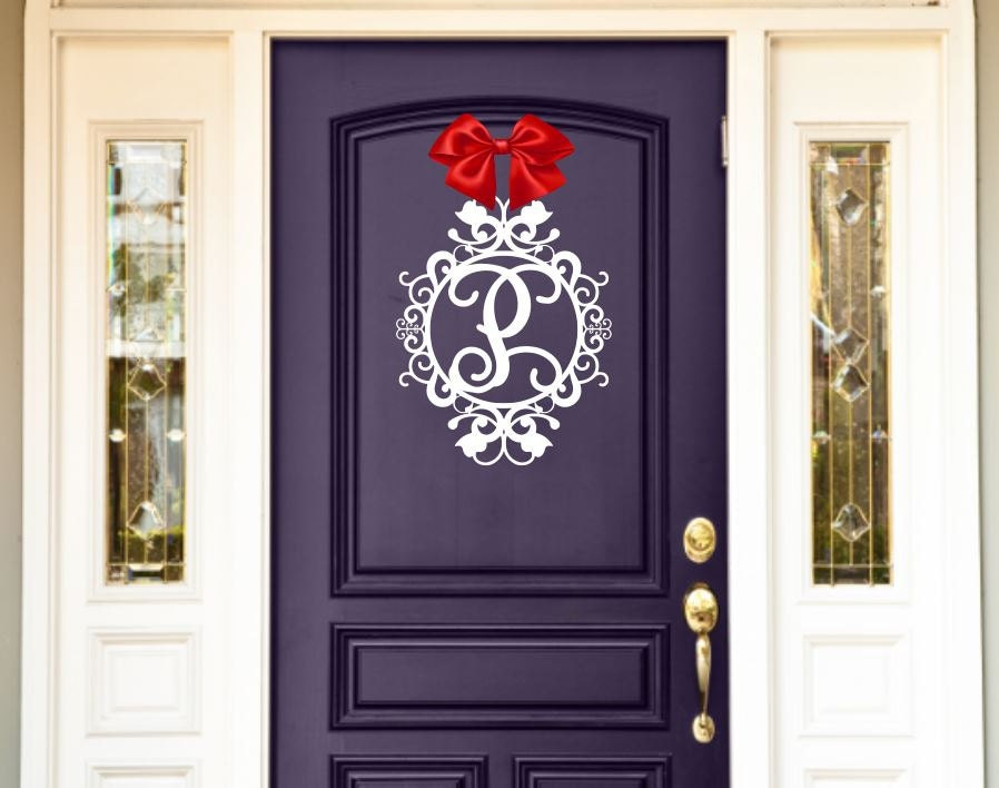Weatherproof Monogram House Sign Monogrammed Wreath Monogram Wreath Door Monogram Front Door Wreath Custom Name Sign Metal Letters & Weatherproof Monogram House Sign Monogrammed Wreath Monogram ...