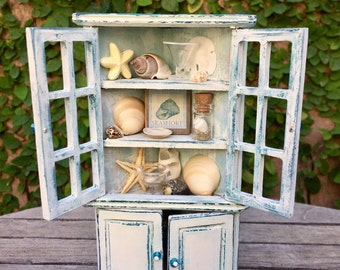 Beach corner cabinet, miniature cabinet, dollhouse cupboard
