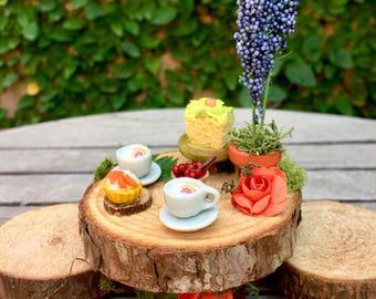 Dollhouse tea for two, woodland fae miniature, fairy garden table