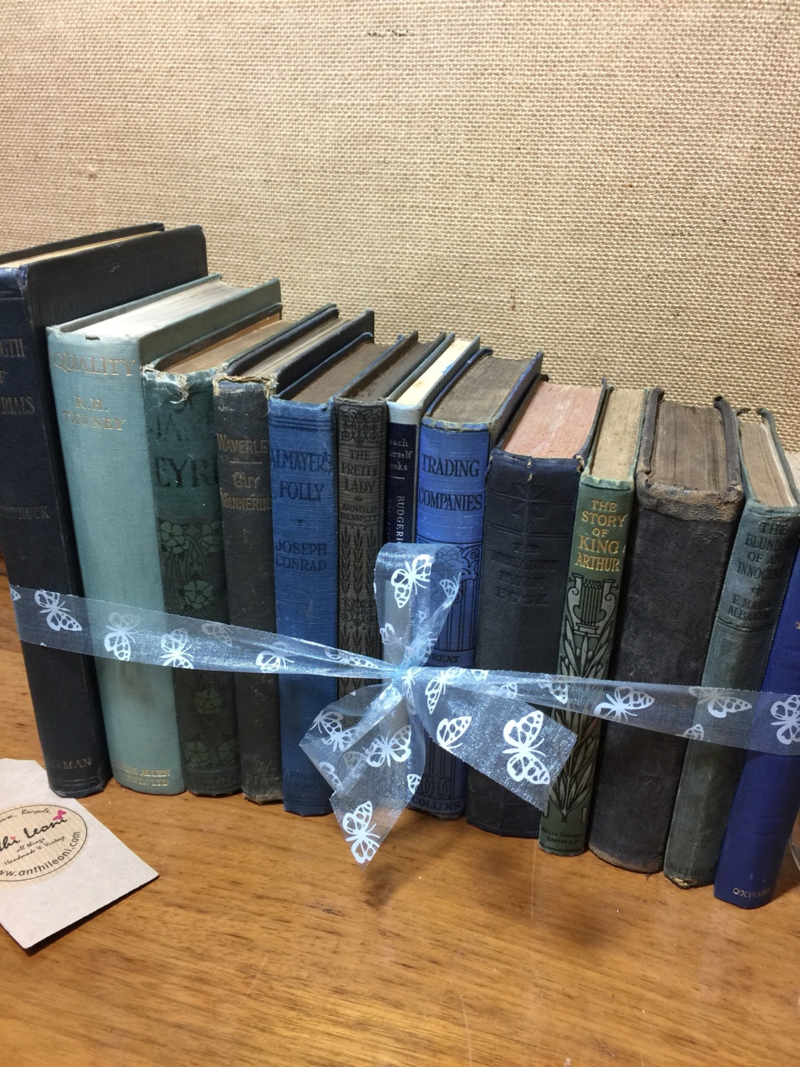 BLUE Vintage Book Collection - Old Books Decoration - Foot Long 11 ...