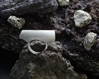 Concrete Fragment Ring | Concrete & Silver Ring | Silver Ring | Concrete Ring
