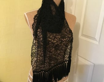 Black lace fringed scarf/stole/shawl
