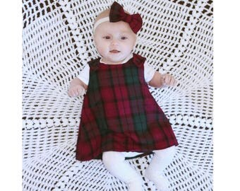 Girls Tartan Pinafore Dress, New Baby Pinafore Dress, Cake Smash Pinafore Outfit, Tartan Dress, Babies Tartan Pinafore Dress, Tartan Outfit