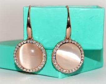 Swarovski bridal rose gold earrings crystal diamante wedding earrings bridal gift crystal jewelry gold plated