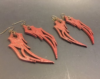 3D Printed Dragon Wing Earrings [Available in steel and with precious metal plating]