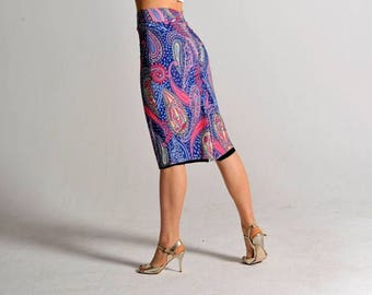 CLARA reversible! Paisley print slit skirt - sizes XS/S/M