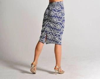CLARA skirt in royal blue print slit skirt - sizes XS/S/M
