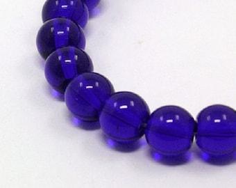"Blue 8mm Round Glass Beads (12"" Strand)"