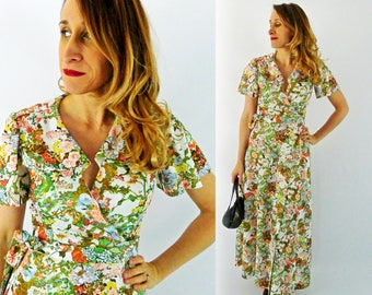 70's Floral Wrap Around Polyester Dress - Size Small
