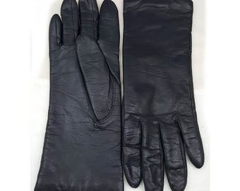 Vintage Fownes Womens Acrylic Lined Black Leather Gloves Size 6 1/2