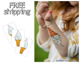 "Set of 3 temporary tatts ""Ice cream"". Summer themed tattoos wuffle cone. TT063"
