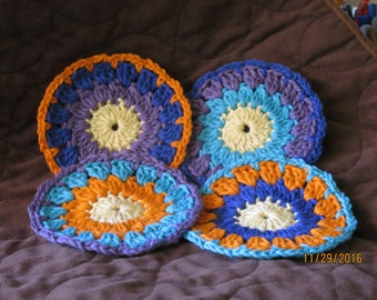 Set of 4 crocheted cotton coasters