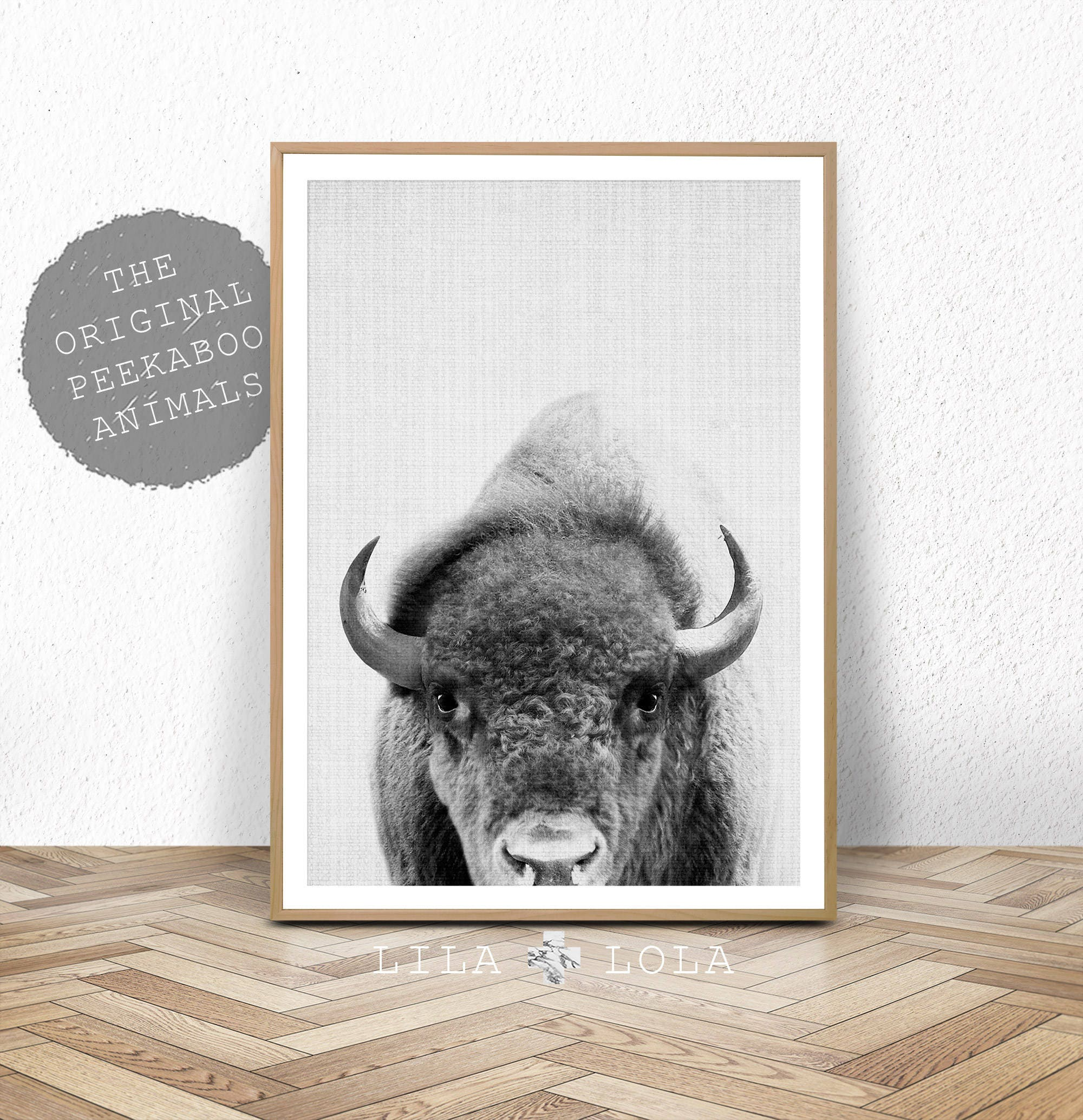 Buffalo print bison wall art nursery decor kids room poster black and