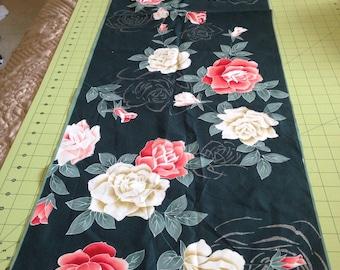 Green Cotton Floral Yukata Fabric
