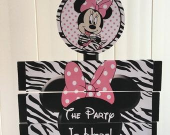 Zebra Minnie Mouse Birthday Yard Sign