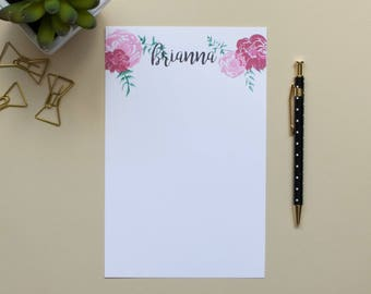 Personalized Notepad / Flower Notepad / Custom Notepad / Name Notepad