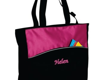 Personalized Colorblock Tote Bag, Monogrammed Two-Tone Bag, Custom Name Tote, Zippered Tote, Embroidered Name Tote Bag, Gift for Her. B1510