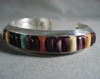 Collector Alert! Navajo Ray Adakai Purple Shell Turquoise Silver Bracelet