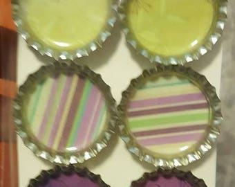 Green and Purple Bottle Cap Magnets