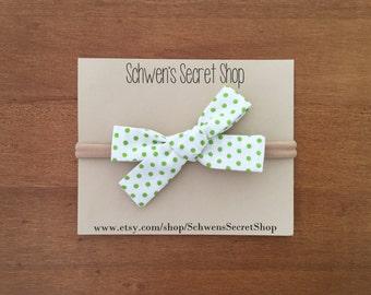 Baby girl bow, hand tied bow, baby girl headband, nylon headband, baby headband, school girl bow, fabric baby bow, baby bows, newborn bow