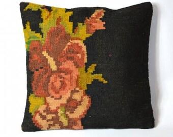 Cushion kilim boho black, pink flowers