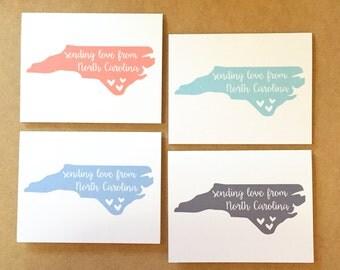 North Carolina Card - Sending Love North Carolina - NC Greeting Card - Carolina Love - Hey Y'all - North Carolina - NC Stationary