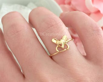 Mouse Ring - Silver Ring - Mouse Jewelry - Size 6 1/2 -  Dainty - Woman Ring - Original Ring - Silver - Gold - Gift for her - Gift Ideas