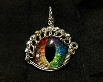 Rainbow Hand-Painted Dragon Eye Pendant w/Silver Beaded Wire Wrap (with Necklace)