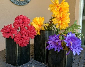 Set of 3 Rustic Country Vases from Repurposed & Reclaimed Pallet Wood