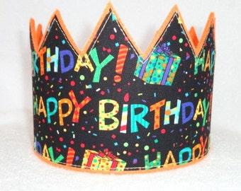 Happy Birthday Crown, Felt Birthday Crown, Happy Birthday Party Hat, Birthday Invitation, Birthday Celebration, Kids Crown, Adult Crown