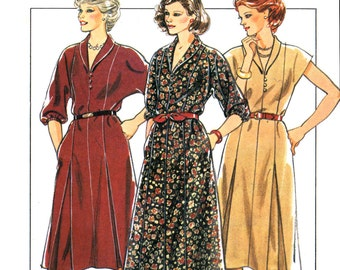 80s Style 4176 Princess Seamed Dress with Roll Collar and Loop Button Fastening, Uncut, Factory Folded, Sewing Pattern Plus Size 16-20