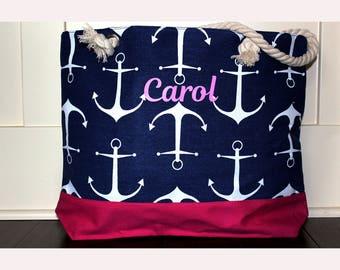 Set of 4- Anchor Beach Bag, Large Tote, Chevron Tote, Monogram Beach Bag