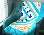 Blue Throw Quilt, Modern Green Blue Lap Quilt, Living Room Throw, Lap Blanket, Pastel Decor, Spring Throw Quilt, Easter Quilt