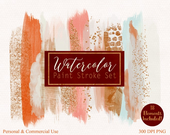 BRUSH STROKES Clip Art Commercial Use Clipart Watercolor Paint Stroke Blog Header Copper Rust & Rose Gold Confetti Watercolour Logo Graphics