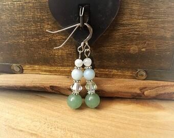 Sterling Silver Gemstone and Swarovski Crystal Beaded Dangle Earrings