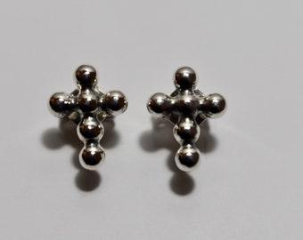 Sterling Silver, Cross Earrings, Balls Earrings, Silver Earrings, Silver Cross,  made in USA