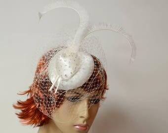 Ivory Sadin Wedding Fascinator,white Feathers, White veil, Bridal Headpiece,