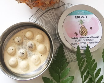 Energy- Pineapple & Coffee Massage, Scrub Body Lotion Bar, Solid Moisturizer, Solid Body Lotion Bar - Packaged in Tin