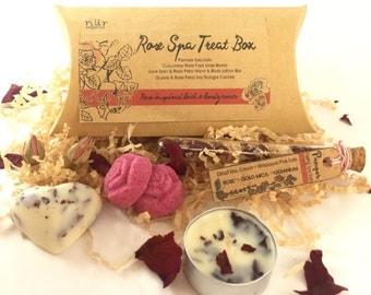 Rose Spa Treat Box, Vegan, Bath Salts, Hand Cream, Lotion Bar, Soy Candle, Foot Soak