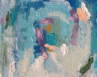 Light Blue Abstract 4x4 Oil Painting
