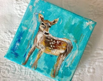 Fawn 4x4 Oil Painting