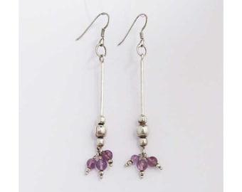 Romantic Amethyst Dangling Long Silver Earring