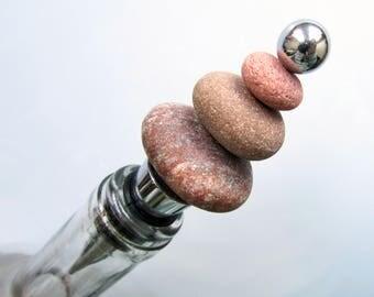 Sea Stone Bottle Stopper, Beach Pebble Wine Stopper, Beach Theme Party Supplies, Beach Pebble Art, Beach Decor, Zen Stone Stack